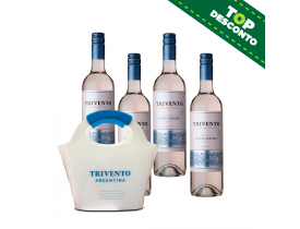 KIT 4 VINHOS TRIVENTO RESERVE WHITE MALBEC 750ML + BALDE